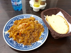 Lunch. Chicken with stewed cabbage.